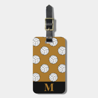 Monogram Black White Volleyball Balls, Matte Gold Tag For Luggage