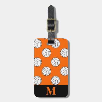 Monogram Black White Volleyball Balls, Orange Tag For Luggage