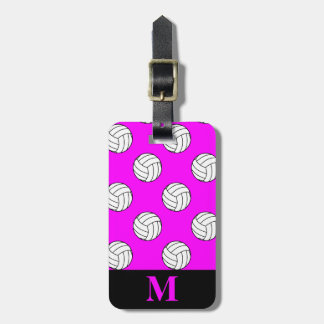 Monogram Black White Volleyball Balls, Pink Tag For Luggage