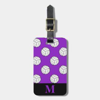 Monogram Black White Volleyball Balls, Purple Tag For Luggage