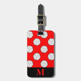 Monogram Black White Volleyball Balls, Red Luggage Tag