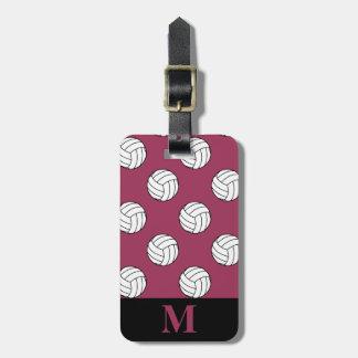 Monogram Black White Volleyball Balls Sangria Pink Bag Tag