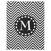 Monogram Black & White Zigzag-Fleece Blanket #1B