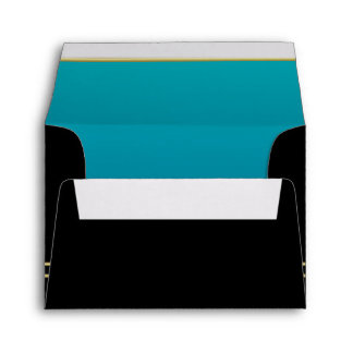 Monogram Black with Gold  | Turquoise Envelope