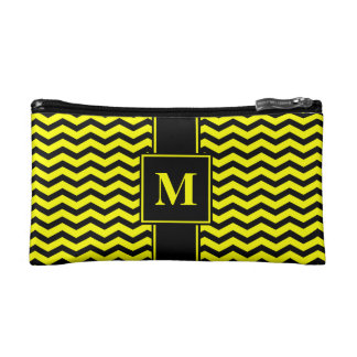Monogram Black/Yellow Chevron Stripe Makeup Bag