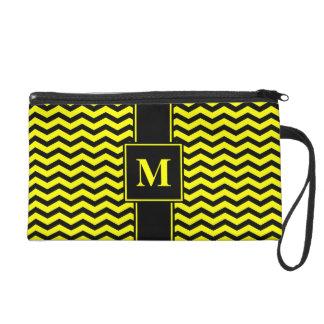 Monogram Black/Yellow Chevron Wristlet