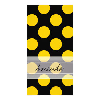 Monogram Black Yellow Chic Polka Dot Pattern Card