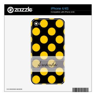 Monogram Black Yellow Chic Polka Dot Pattern iPhone 4 Skin