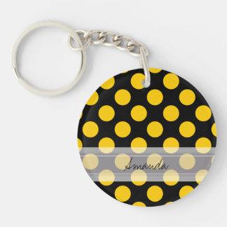 Monogram Black Yellow Chic Polka Dot Pattern Keychain