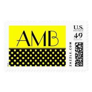 Monogram Black/Yellow Polka Dot Postage
