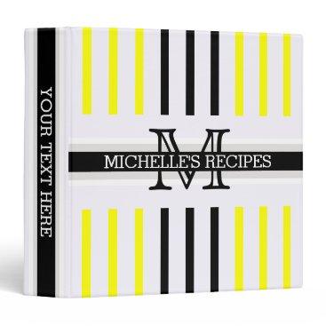 Beach Themed Monogram Black Yellow Stripes Pattern Recipes Binder
