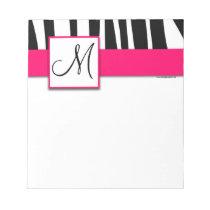 Monogram Black Zebra Stripes Hot Pink Notepad