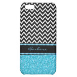Monogram Black Zigzag Chevron And Blue Glitter iPhone 5C Cover