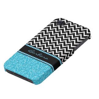 Monogram Black Zigzag Chevron And Blue Glitter iPhone 4 Cases