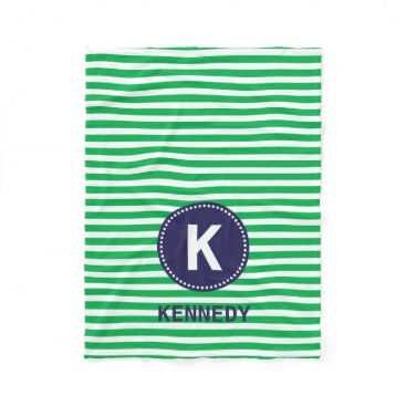 D_Zone_Designs Monogram Blanket Kelly Green Stripes and Navy Blue