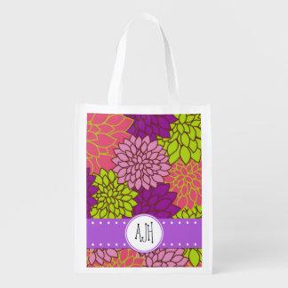 Monogram - Blooming Dahlia Flowers - Pink Purple Grocery Bag
