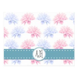 Monogram - Blooming Flowers, Petals - Pink Blue Postcards