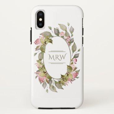 Monogram - Blooming Roses - iPhone X Case