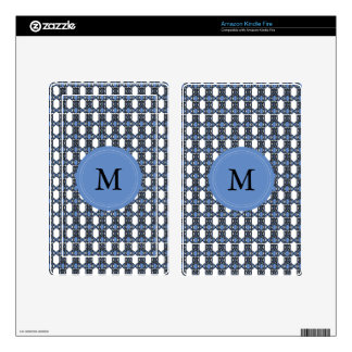 Monogram Blue Abstract Scarab Pattern Kindle Fire Decal