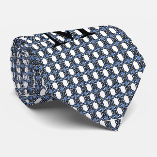 Monogram Blue Abstract Scarab Pattern Tie