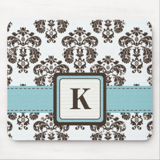 Monogram Blue and Brown Damask Mouse Pad