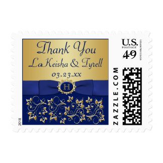 Monogram Blue and Gold Floral Thank You Postage