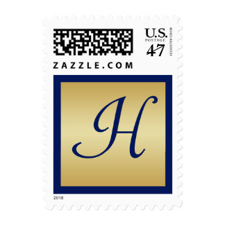 Monogram Blue and Gold Postage