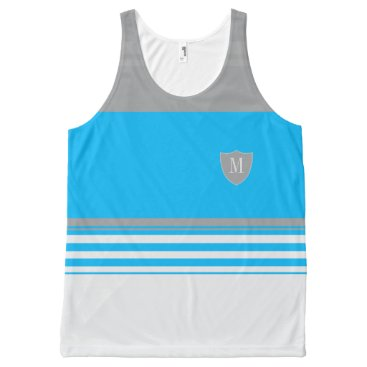 Beach Themed Monogram Blue and grey striped All-Over-Print Tank Top
