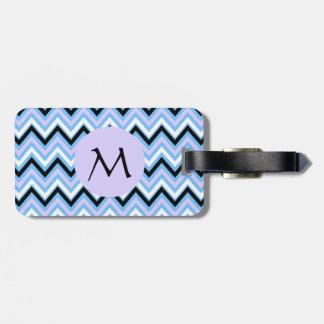 Monogram Blue and Lilac Chevron Pattern Travel Bag Tag