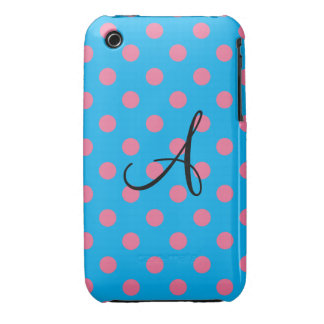 Monogram blue and pink polka dots iPhone 3 Case-Mate cases