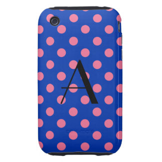 Monogram blue and pink polka dots tough iPhone 3 covers