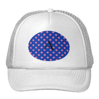 Monogram blue and pink polka dots trucker hat