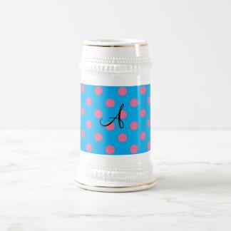 Monogram blue and pink polka dots coffee mug
