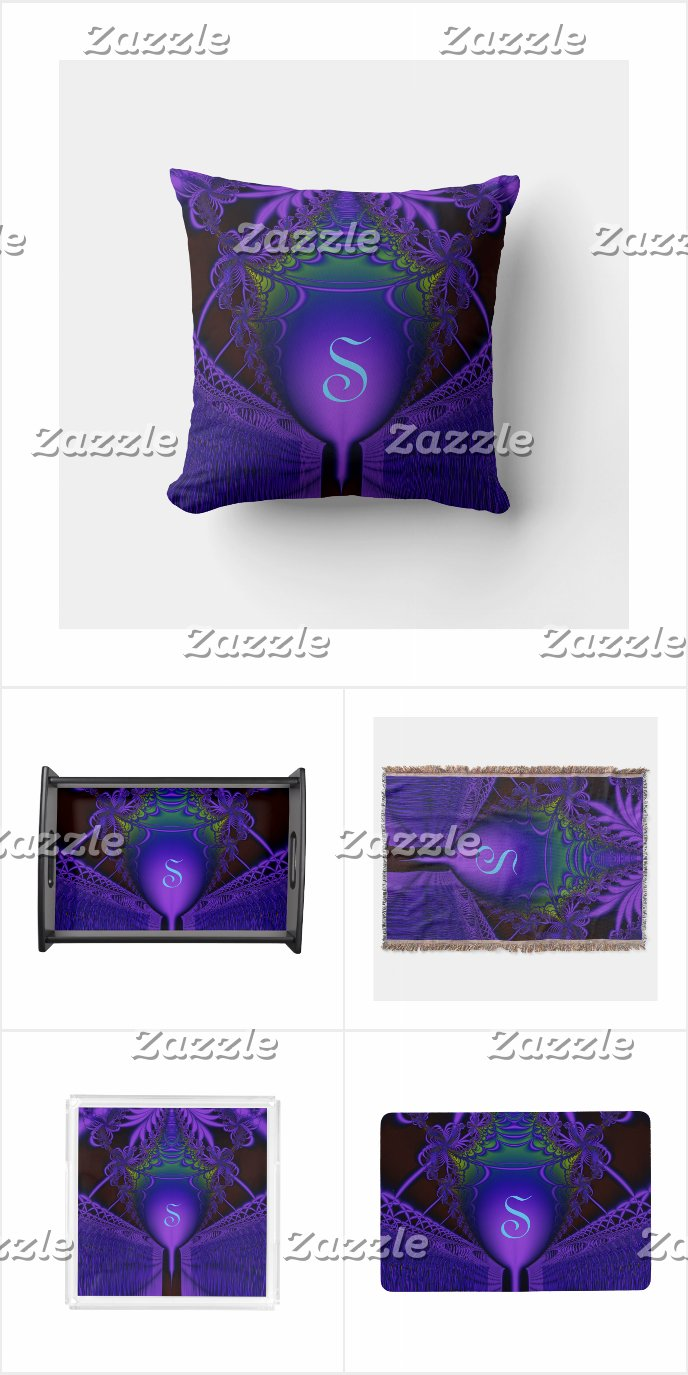 Monogram Blue and Purple Fractal Lace and Shield