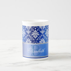 Monogram Blue And White Damask Tea Cup at Zazzle