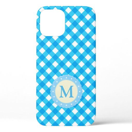 Monogram Blue and White Gingham Pattern Case-Mate