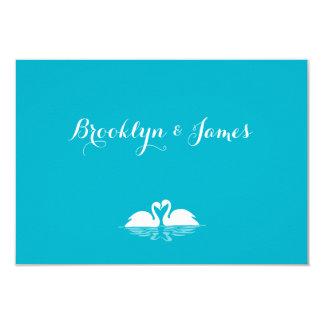 Monogram Blue And White Wedding RSVP Cards Swans