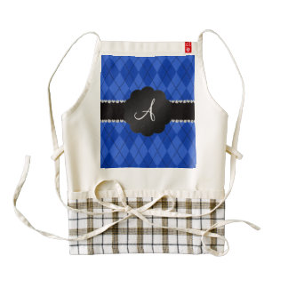 Monogram blue argyle black scallop zazzle HEART apron