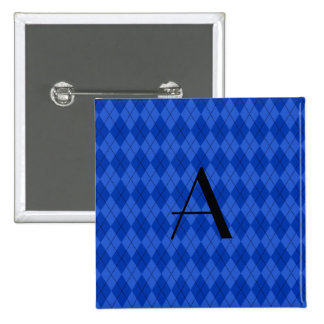 Monogram blue argyle 2 inch square button