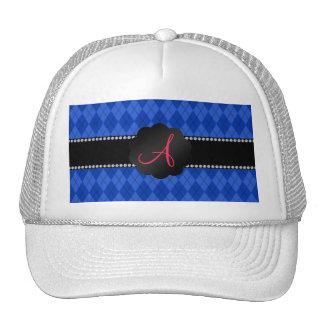 Monogram blue argyle mesh hat