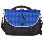 Monogram blue argyle laptop commuter bag
