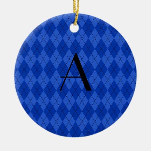 Monogram blue argyle ornaments