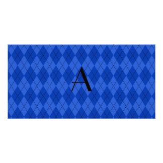 Monogram blue argyle photo cards