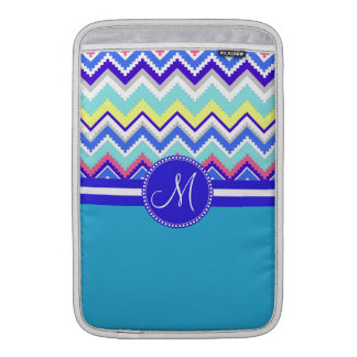Monogram Blue Aztec Andes Chevron Zig Zags MacBook Sleeve