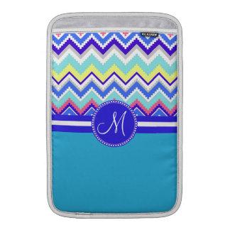 Monogram Blue Aztec Andes Chevron Zig Zags Sleeve For MacBook Air