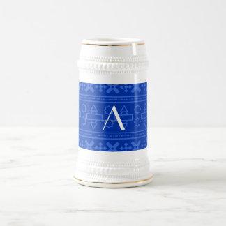 Monogram blue aztec pattern coffee mug