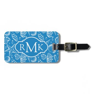 Beach Themed Monogram Blue Beach Pattern Bag Tag