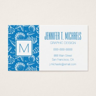 Beach Themed Monogram Blue Beach Pattern Business Card