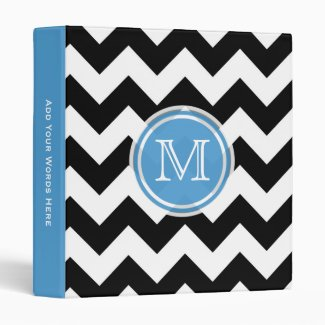 Monogram: Blue, Black And White Chevron Binder