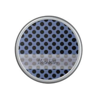 Monogram Blue Black Cute Chic Polka Dot Pattern Speaker